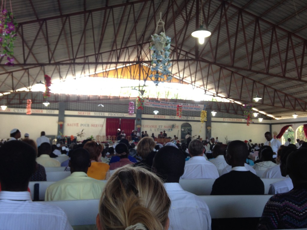 Attending the 2nd church service.